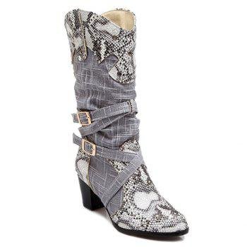 Trendy Snake Print and Buckles Design Mid-Calf Shoes For Women