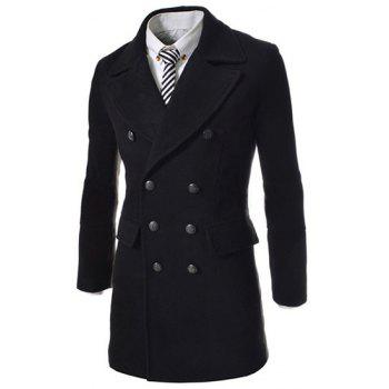 PU Leather Spliced Multi-Button Back Slit Lapel Long Sleeves Men's Woolen Blend Peacoat