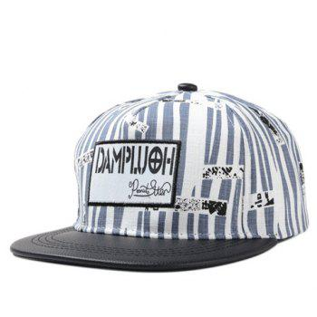 Chic Rectangle Embroidery Irregular Stripe Pattern PU Brim Women's Baseball Cap