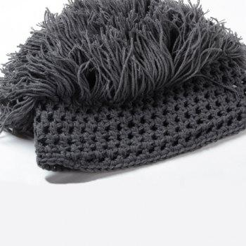 Stylish Men and Women's Woolen Yarn Imitated Wig Embellished Knitted Beanie -  GRAY