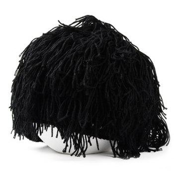 Stylish Men and Women's Woolen Yarn Imitated Wig Embellished Knitted Beanie - BLACK BLACK