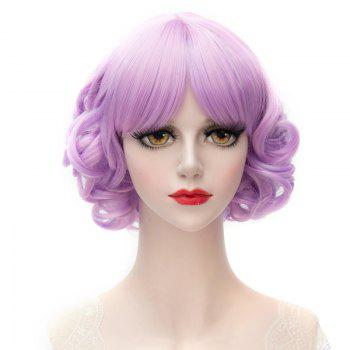 Lolita Style Purple Mixed Capless Sweet Middle Part Synthetic Short Curly Wig For Women