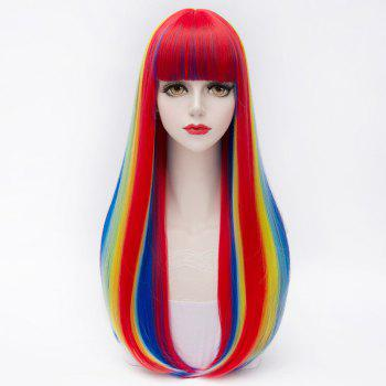 Offbeat Rainbow Fashion Full Bang Synthetic Natural Straight Long Capless Charming Women's Cosplay Wig - COLORMIX