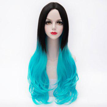 Long Wavy Black to Blue Ombre Lolita Style Fashion Capless Middle Part Synthetic Women's Wig - BLUE/BLACK