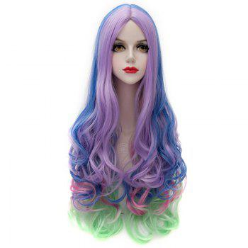 Offbeat Colorful Ombre Charming Long Centre Parting Synthetic Fluffy Wavy Wig For Women