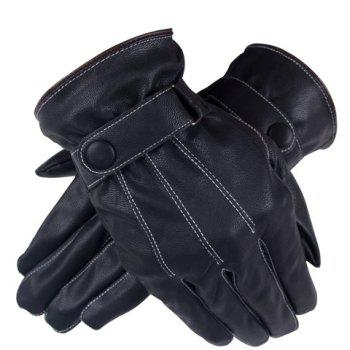 Pair of Stylish Men and Women's Snap Fastener Stripy Touch Screen PU Gloves