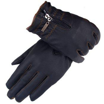 Pair of Stylish Men and Women's Zipper Touch Screen PU Gloves