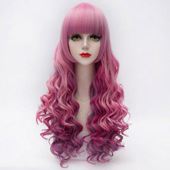 Gorgeous Heat Resistant Fiber Neat Bang Fluffy Wavy Colorful Ombre Capless Long Women's Wig - COLORMIX