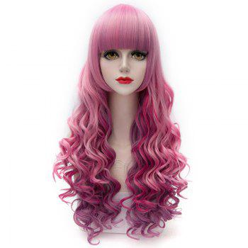 Gorgeous Heat Resistant Fiber Neat Bang Fluffy Wavy Colorful Ombre Capless Long Women's Wig