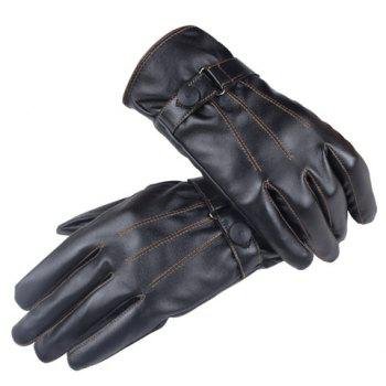 Pair of Stylish Men and Women's Button Sewing Thread Touch Screen PU Gloves
