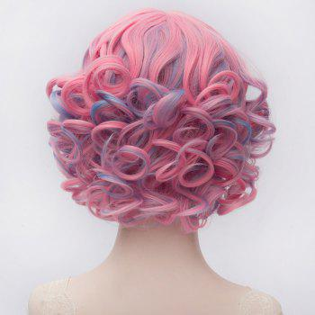 Fluffy Curly Blue Highlight Nobby Heat Resistant Fiber Full Bang Capless Short Wig For Women - COLORMIX
