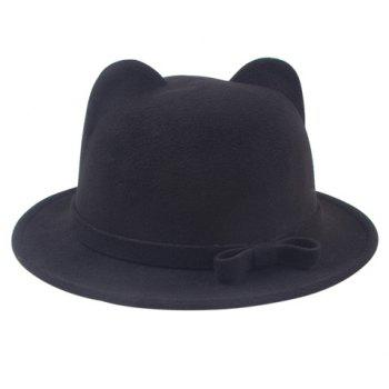 Chic Small Bow Lace-Up and Cat Ear Shape Embellished Women's Felt Jazz Hat - BLACK BLACK