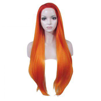 Fashionable Natural Straight Heat Resistant Fiber Long No Bang Mixed Color Lace Front Wig For Women