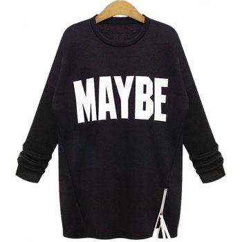 Casual Long Sleeve Round Collar Zipper Design Letter Print Women's Sweatshirt - BLACK 3XL