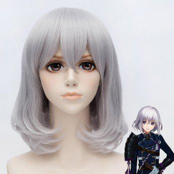 Honebami Toushirou Trendy Fluffy Natural Straight Silvery Gray Mixed Short Bob Cosplay Wig