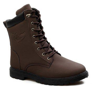 Buy Stylish Color Block Lace-Up Design Combat Boots Men COFFEE