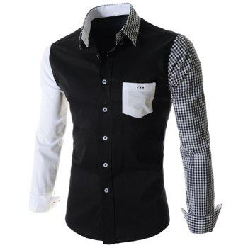 One Patch Pocket Color Block Plaid Asymmetric Spliced Shirt Collar Long Sleeves Men's Slimming Shirt