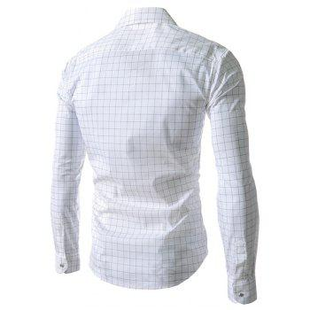 Refreshing Turn-down Collar Color Block Plaid Print Slimming Men's Long Sleeves Shirt - WHITE L