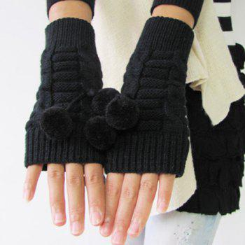 Buy Pair Chic Small Ball Pendant Solid Color Women's Knitted Fingerless Gloves BLACK