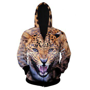 Fitted Trendy Hooded 3D Leopard Pattern Long Sleeve Men's Cotton Blend Hoodie