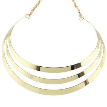 Layered Polished Hollow Out Choker Necklace - GOLDEN