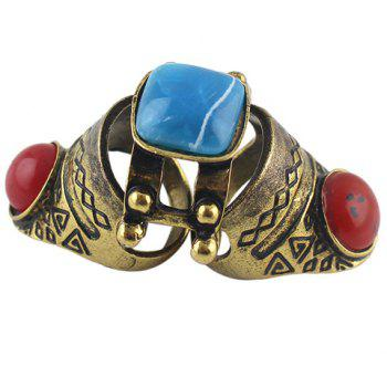 Vintage Faux Gem Knuckle Ring - BRONZE COLORED ONE-SIZE