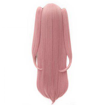 Charming Pink Extra Long Side Bang Fashion Glossy Straight With Bunches Krul Tepes Cosplay Wig - PINK