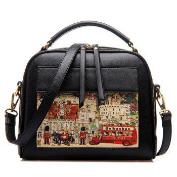 Retro Hand painted and PU Leather Design Women's Crossbody Bag