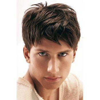 Buy Fluffy Natural Masculine Short Straight Capless Side Bang High Temperature Fiber Men's Wig