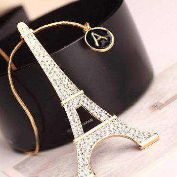 Stylish Tower Pendant Rhinestone Sweater Chain For Women - GOLDEN GOLDEN