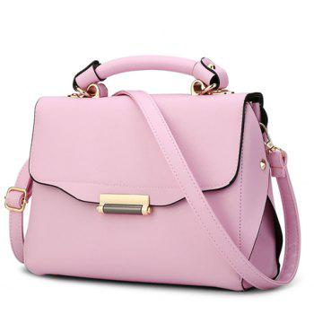 Trendy Metal and PU Leather Design Crossbody Bag For Women - PINK