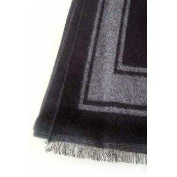 Stylish Frame Pattern Fringed Men's Scarf - BLACK