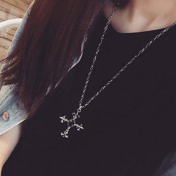 Faux Gemstone Cross Pendant Necklace