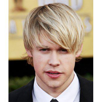 Shaggy Straight Light Blonde Mixed Brown Synthetic Short Capless Fashion Side Bang Wig For Men - COLORMIX COLORMIX
