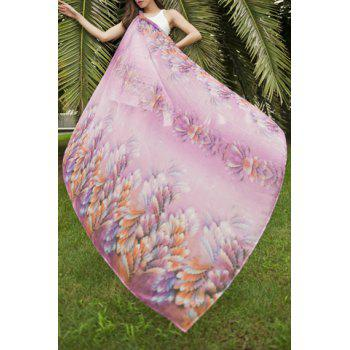 Chic Colorful Plant Printed Women's Chiffon Scarf