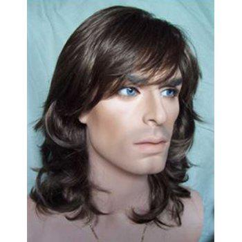 Fashion Heat Resistant Synthetic Long Black Brown Capless Side Bang Towheaded Wavy Men's Wig