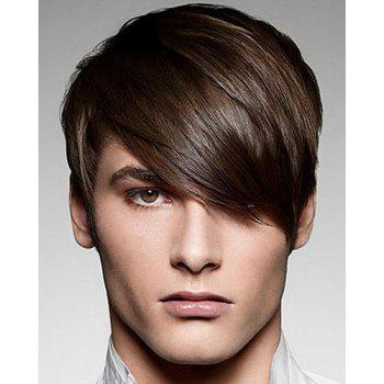 Buy Vogue Inclined Bang Silky Straight Short Stunning Deep Brown Capless Synthetic Wig Men