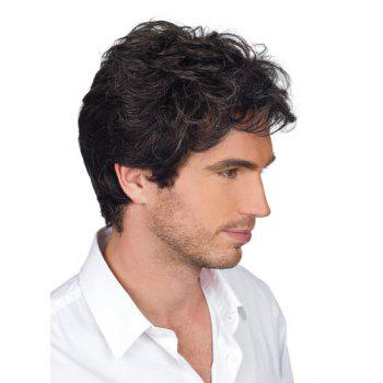 Handsome Short Side Bang Heat Resistant Synthetic Shaggy Wavy Capless Men's Wig - BLACK BLACK