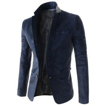 Slimming Stylish Lapel Houndstooth Splicing Long Sleeve Men's Cotton Blend Blazer