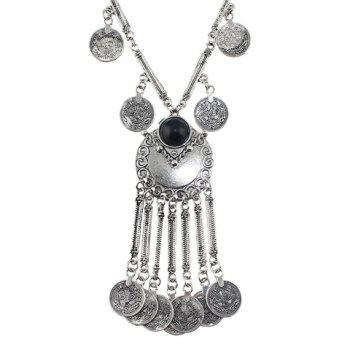 Chic Ethical Style Solid Color Coin Tassel Necklace For Women - SILVER