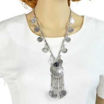 Chic Ethical Style Solid Color Coin Tassel Necklace For Women