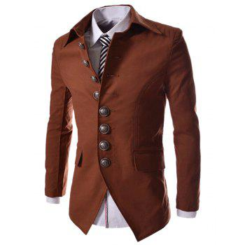 Slimming Fashion Turndown Collar Single Breasted Long Sleeve Men's Cotton Blend Blazer