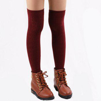 Pair of Chic Hemp Flower Jacquard Solid Color Women's Knitted Stocking