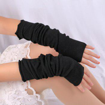 Buy Pair Chic Pure Color Women's Knitted Fingerless Gloves BLACK