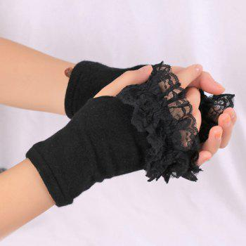 Pair of Chic Lace Edge Women's Knitted Fingerless Gloves - BLACK BLACK