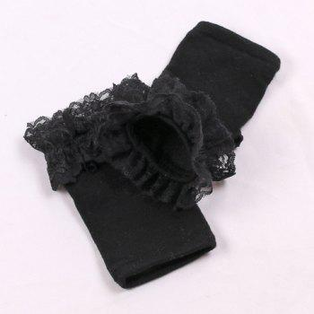 Pair of Chic Lace Edge Women's Knitted Fingerless Gloves -  BLACK