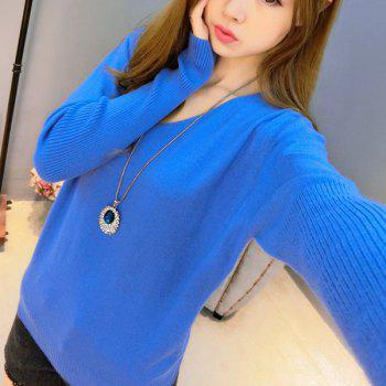 Stylish Solid Color V-Neck Long Sleeve Knitwear For Women