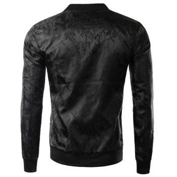 Slimming Trendy Stand Collar Dark Camo Pattern Zipper Design Long Sleeve Polyester Men's Jacket - BLACK L