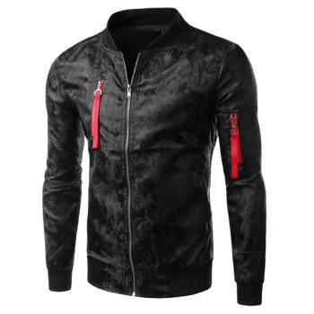 Slimming Trendy Stand Collar Dark Camo Pattern Zipper Design Long Sleeve Polyester Men's Jacket