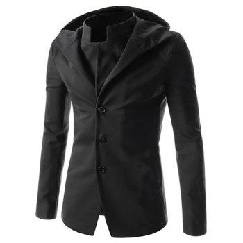 Slimming Fashion Hooded Solid Color Single Breasted Long Sleeve Men's Polyester Coat